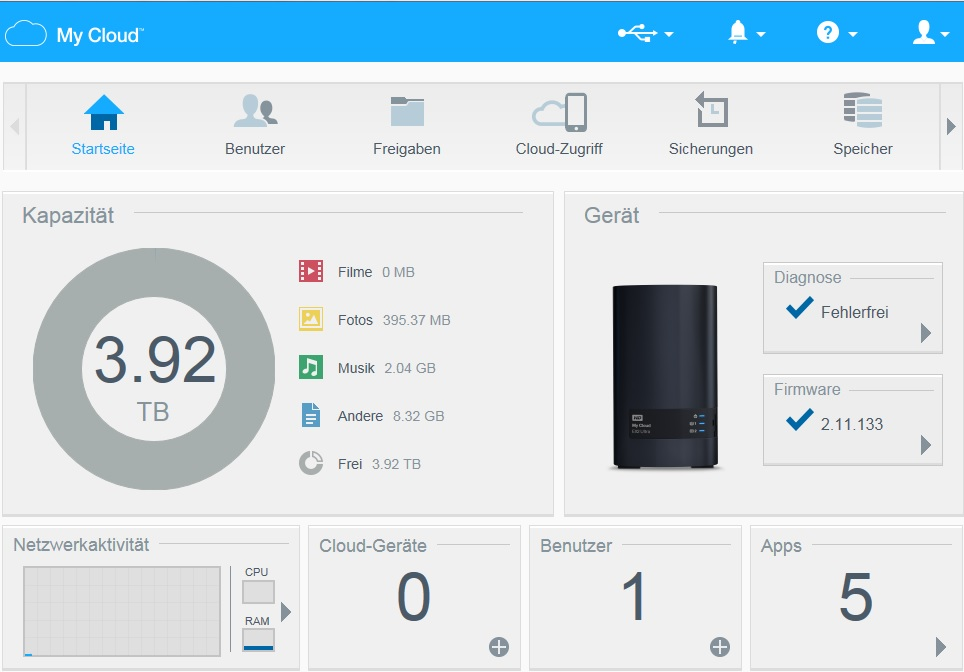 test wd my cloud ex2 ultra 8tb hardware journal results from 2. Black Bedroom Furniture Sets. Home Design Ideas