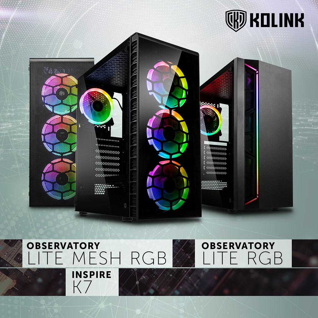 Kolink Inspire K7 ARGB, Observatory Lite RGB und Observatory Lite Mesh RGB